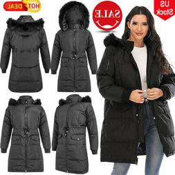 USA Women's Winter Warm Collar Hooded Long Coat Jacket Parka
