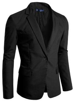 Doublju Mens Vivid One-button Blazer Black X-Large