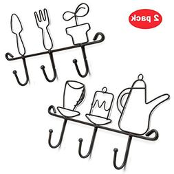 OMMITO Wall Mounted Hooks Rack,11 Inches Iron 3 Hooks Kitche