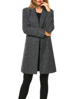 Zeagoo Winter Blended Coat Women Casual Long Pea Coat Trench