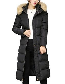 Tanming Women's Winter Cotton Padded Long Coat Outerwear Wit