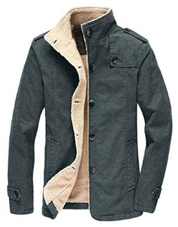 Vcansion Men's Winter Fleece Windproof Jacket Wool Outerwear