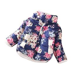 Franterd Winter Girl Flowers Coat Jackets Thick Warm Top Wai
