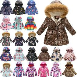 Winter Kids Girls Coat Padded Warm Floral Jacket Fur Collar