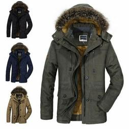 Winter Men's Cotton Coat Thicken Warm Hooded Parka Fur Colla