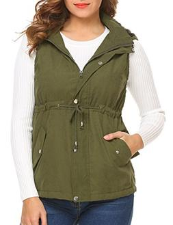 Beyove Women's Winter Outerwear Vests Hood Waistcoat Safari