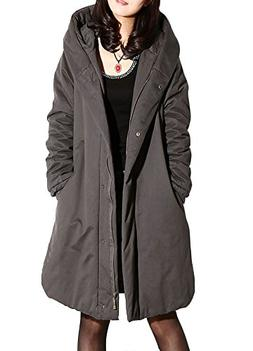 Minibee Women's Winter Outwear Hoodie Coat Gray M