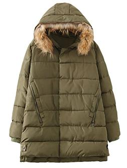 Minibee Women's Winter Parka Coat With Fur Hoodie Jacket Out