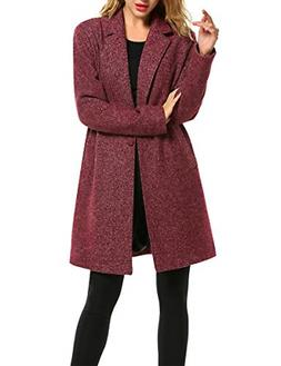 Zeagoo Winter Pea Coat Long Jacket Women Casual Wool Blended