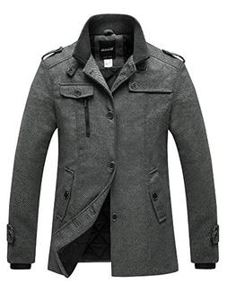 Wantdo Men's Winter Wool Blend Pea Coats Dark Grey US Medium