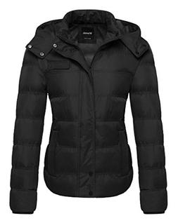 Wantdo Women's Winter Quilted Puffer Jacket with Removable H