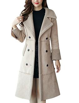 Tanming Women's Winter Sherpa Lined Faux Suede Leather Coat