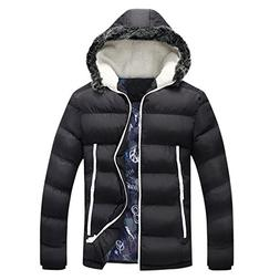 Susanny Men's Winter Thicken Cotton Coat Casual Fur Hooded Q