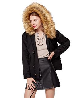 Women's Winter Trench Coat Large Fur Hoodie Jacket with Remo