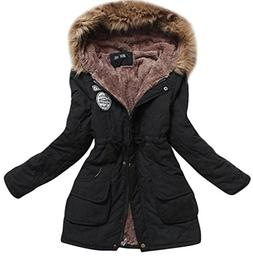 Aro Lora Women's Winter Warm Faux Fur Hooded Cotton-Padded C