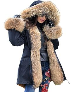 Roiii Women Winter Warm Thick Color Block Faux Fur Coat Outd