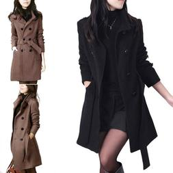 Winter Women Double Breasted Overcoat Long Slim Trench Parka