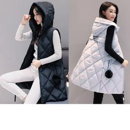 Winter Women Down Vest Jacket Padded Coat Ladies Slim Long H