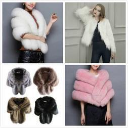 Winter Women Faux Fur Coat Cloak Jacket Ladies Warm Shawl St