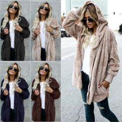 Winter Women Fuzzy Fluffy Coats Cardigan Hooded Jacket Sweat