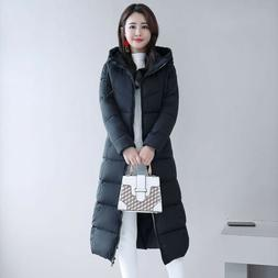 Winter Women's  Jacket Hooded Quilted Warm Knee Length Coat