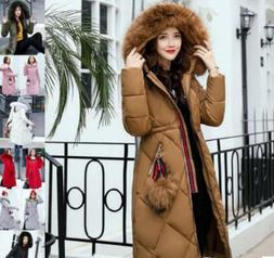 Winter Women's long Down Cotton Parka Big Fur Collar Hooded