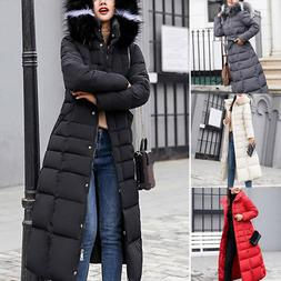 Winter Womens Down Jacket Hooded Long Fur Collar Thicken Coa