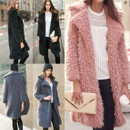 Winter Womens Faux Fur Coat Warm Thick Outwear Lapel Cardiga