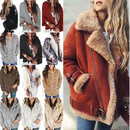 Winter Womens  Thicken Fleece Fur Coat Jacket Warm Zip Up Ou