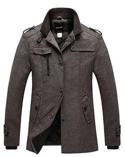Wantdo Men's Winter Pea Coat Single Breasted Thicken Warm Mi