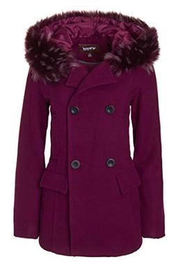 Sportoli Women's Winter Wool Look Double Breasted Pea Coat