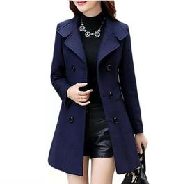 Women Double Breasted Slim Solid Wool Blend Winter Pea Coats