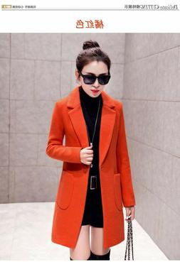 Women Double Breasted  Trench Coat Slim Long Jacket Warm Ove