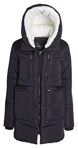 Sportoli Women Fashion Winter Side Zip Lined Puffer Parka Co
