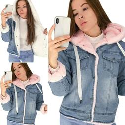 Women Fleece Winter Thick Hooded Denim Jacket Fluffy Fur Ted