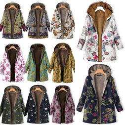 women floral hoodie parka coat hoohed fleece