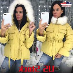 Women Fluffy Hooded Winter Down Jacket Zipper Parka Coats Mu