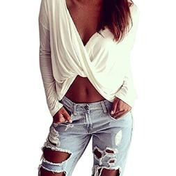 TOPUNDER Women Front Cross V-Neck Long Sleeve Shirts Sexy Wh