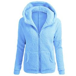 Kulywon Women Hooded Sweater Coat Winter Warm Wool Zipper Co