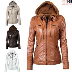 Women Ladies Faux Leather Jacket Coats Zip Up Casual Detacha