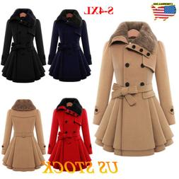 Women Ladies Fur Collared Winter Long Peacoat Coat Trench Ou