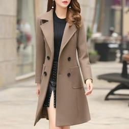 Women Lady Winter Warm Wool Long Slim Coat Jacket Trench Par