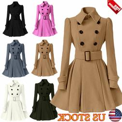 WOMEN LAPEL COLLAR WINTER LONG SECTION COATS TRENCH OVERCOAT