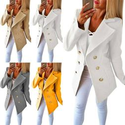 Women Long Sleeve Coat Formal Blazer Suit Ladies Slim Fit Du