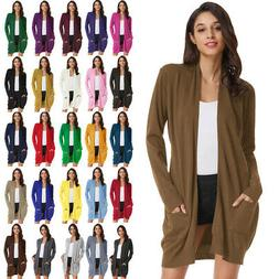 Women Long Sleeve Overcoat Plus Size Tops Open Front Cardiga