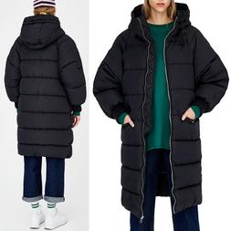 Aofur Women Long Thicken Warm Black Down Jacket Loose Hooded
