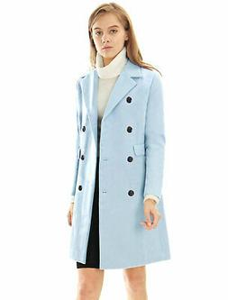 Women Notched Lapel Double Breasted Trench Coat