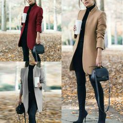 Women Outwear Overcoat Winter Warm Wool Lapel Trench Parka C