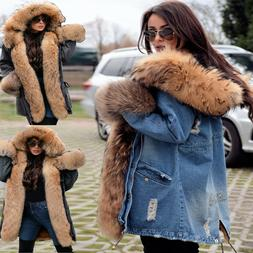 Roiii Women Rich Faux Fur Warm Outdoor Snow Winter Hooded Ja