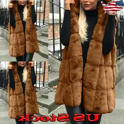 Women's Coats Fluffy Vest Jacket Cardigan Hooded Tops Outerw